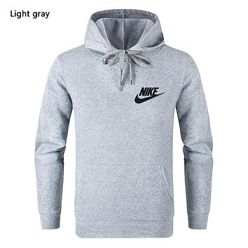NIKE Autumn And Winter New Fashion Bust Letter Hook Print Leisure Women Men Hooded Long Sleeve Sweater Light Gray