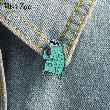 Cartoon sloth enamel pin Party animal badge brooch Mint green Lapel pin for Denim Jeans shirt bag Funny jewelry Gift for friends