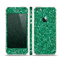 The Green Glitter Print Skin Set for the Apple iPhone 5s
