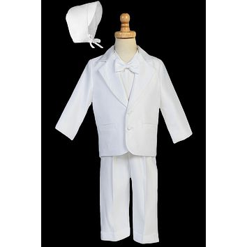 (Sale) Baby Boys 6-12 Months Dinner Jacket Tuxedo 4 Pc Satin Christening Outfit