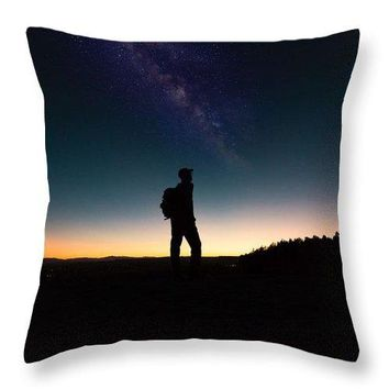 The Milky Way, The Blood Moon And The Explorer By Adam Asar - Throw Pillow