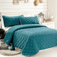 C.CTN 3pc Reversible Quilt Set, King Size, DarkTurquoise/LightSteelBlue