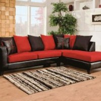 Red, Black Couch, Microfiber | Sierra Cardinal 2-Piece Sectional Sofa