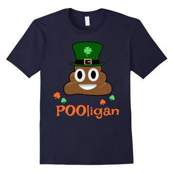 Emoji Poo POOligan Funny St Patricks Day TShirt for Men Kids