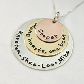 Hand Stamped Layed Mixed Metal Mother's Necklace   Family Necklace Many Hearts, One Beat