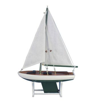 "Wooden It Floats 12"" - Green Floating Sailboat Model"