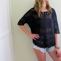 Vintage Free People Blouse Black Lace See Through Tunic Shirt Top