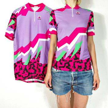 SALE 30% OFF - 80s SPORTFUL Two Cyclist T-shirts for Couple / Bike Wear for Woman & Man / Gift Idea for Pair / Size Woman S-M / Size Man M-L