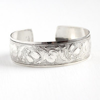 Vintage Danecraft Cuff - Sterling Silver Flower Vine Design Bracelet - Retro 1950s Floral 3/4 Inch Wide Stacking Signed Designer 50s Jewelry
