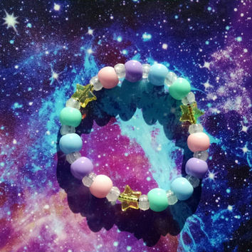 Pastel Rainbow Kandy Stretch Bracelet Pink Purple Blue Yellow Green & Glowing Beads Kawaii Street Fashion