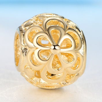 New Gold Plated Bead Charm Hollow Picking Daisies Flower Beads Fit Women Pandora Diy Bracelets & Bangles Jewelry YW15582