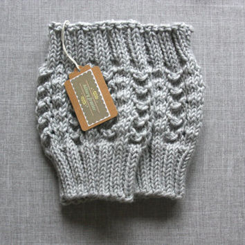 Knitted Boot Cuffs - Gray Knit Boot Cuffs - Leg Warmers - Gray - Boot Toppers - Knit Boot Socks