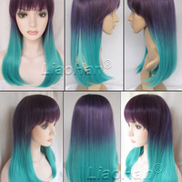 Fashion Rainbow Wig Two Tone Ombre Wig Long Wavy Ombre Green Colorful Wig Colored Wigs for Women