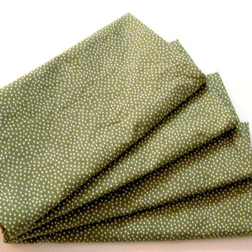 Large Cloth Napkins - Set of 4 - Olive Green Pin Dots - Dinner, Table, Everyday, Wedding - Christmas