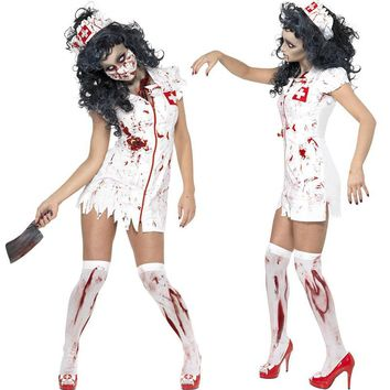 Helisopus Fashion Dress Clothes Party New Adult Halloween Party Cosplay Horror Clothes Bloody Scary Girl Women Nurse Costume