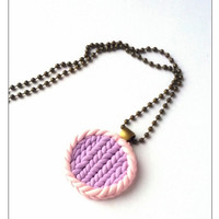 Pastel Lilac Charm Necklace, Polymer Clay Jewelry, Knitted Necklace, December Gift, Stocking Stuffer, Ball Chain Necklace, Gift For Sister