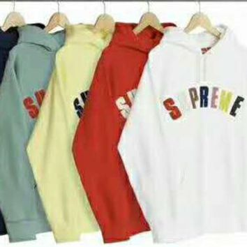 Supreme Couple Casual Letter Long Sleeve hooded Pullover Sweatshirt Top Sweater hoodie I-JJ-LHYCWM-1