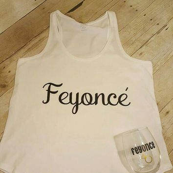 Feyonce tank/tee shirt with stemless wine glass
