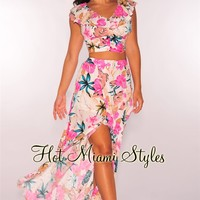 White Pink Floral Ruffle Maxi Two Piece Set