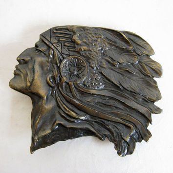 Vintage Brass 80s Native Buckle Gold Brass Indigenous Chief Head Brass 1980s Belt Buckle Made in USA