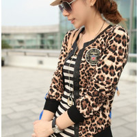 Women autumn jackets and coats long autumn coat for women Leopard