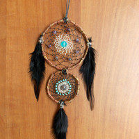 Boho Double Dream Catcher with Amethyst and Frosted Glass // Hippie Dorm Decor