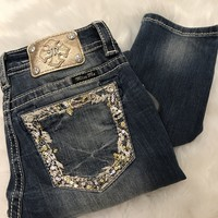 *LAST ONE* MISS ME GOLD TRIM ANKLE SKINNY