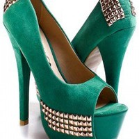 GREEN FAUX SUEDE STUDDED PEEPTOE PUMPS HEELS,Sexy Heels,High heel shoes,Women's sexy heel shoes,Stiletto Heel,new spring heels,fashionable black heels,occasion party heel shoes,designer party heels,prom heel,red,pink,gold heels