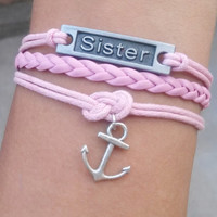 Anchor bracelet,sister bracelet in antique silver.Red wax cord and braided leather.Personalized bracelet,friendship gift