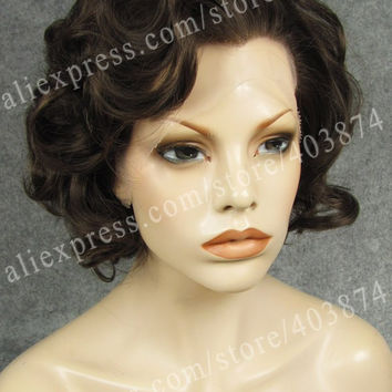 N24-6/8  Marilyn Monroe Short Curly Style Natural Brown Charming Color Hair Wig Synthetic Lace Front Wig