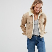 ASOS Cord Jacket With Fleece Collar in Stone at asos.com