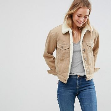 ASOS Cord Jacket With Borg Collar in Stone at asos.com