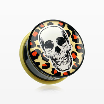 A Pair of Leopard Skull Single Flared Ear Gauge Plug