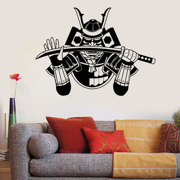 Vinyl Wall Decal Samurai Japanese Warrior Katana Armor Stickers Mural Unique Gift (ig4949)