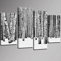 4 Panel Birch Tree Wall Art,Black and White Forest Pictures Print on Canvas,Home and Office Inner Wall Decor Artwork on Canvas