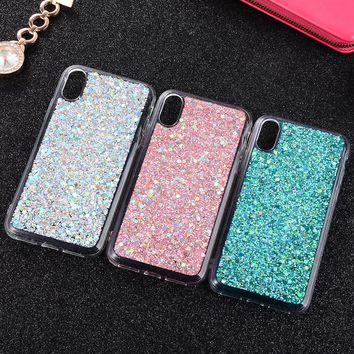 PAWPAW Fashion Flash Diamond Mobile Phone Case for iPhone 7 Case for iPhone X Case Soft Case 6 8plus