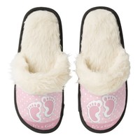 It's a Girl Pink Polka Dot Fuzzy Slippers