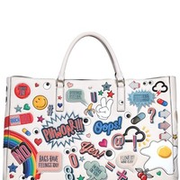ANYA HINDMARCH - EBURY MAXI STICKERS PRINTED LEATHER BAG - LUISAVIAROMA - LUXURY SHOPPING WORLDWIDE SHIPPING - FLORENCE