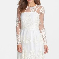 Taylor Dresses Embroidered Mesh Fit & Flare Dress