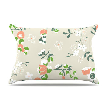 "Very Sarie ""Early Waking"" Green Floral Pillow Case"