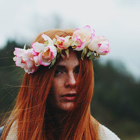 Gates of Eden - Flower Crown / Floral Crown / Flower Halo / Flower Headband / Festival Wear / Ombre Pink / Vintage Roses