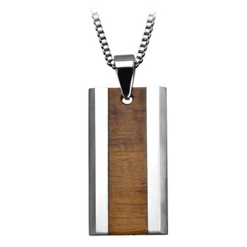 Inox Jewelry Men's Titanium Wood Inlay Cross Pendant