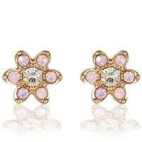 River Island Womens Pink rhinestone flower stud earrings