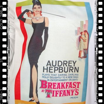NWT. Breakfast At Tiffany's Audrey Hepburn Punk Indie Rock Vintage Crop Women Top Long Sleeve T-shirt Free Size