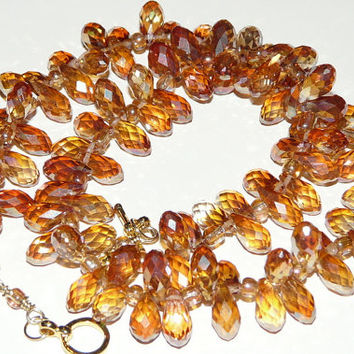 Vintage Inspired Amber Crystal Necklace, Artisan Jewelry, Handmade Necklace, Handmade Jewelry, Amber Crystal Drops, Free US Shipping