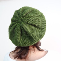 Olive Green Hat Beanie,Knit Beanie, Hand Knitted Beanie, Christmas Gift