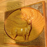 Wild Deer Buck Antlers Carving in Wood Wild Animal Carved In Old Barnwood Forest Nature Mountain Outdoors Hunting Fishing Rustic Primitive l
