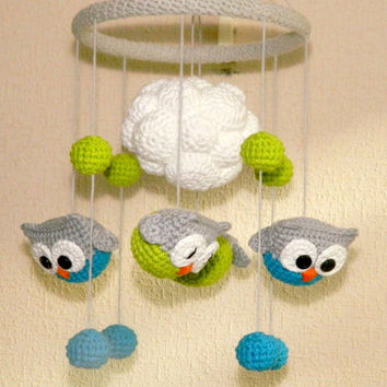Owl nursery decor Baby mobile Owl Crochet Baby Crib Mobile Organic Baby Toy Cute Owls Mobile Baby Gifts Nursery Baby Mobile Baby Mobile Felt