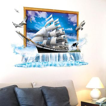 Sailing Ship 3D Wall Stickers for Living Room