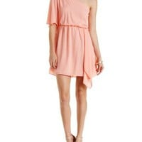 Blush One Shoulder Asymmetrical Chiffon Dress by Charlotte Russe